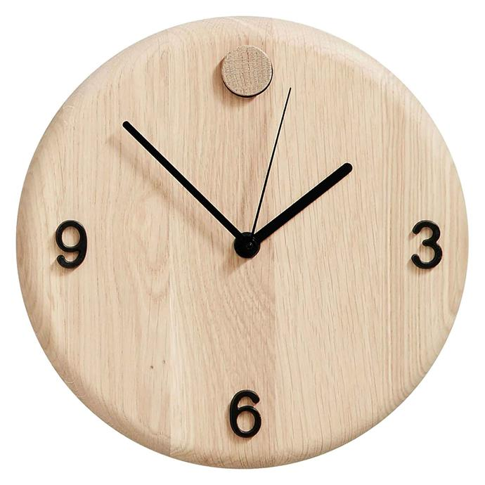 "**SCANDI**<p> <p>'Wood Time' clock by Andersen, $167, from [Royal Design](https://fave.co/2N2LZBO|target=""_blank""