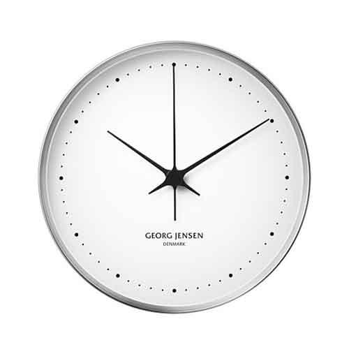 "**LUXURY**<P> <p>'Hk' wall clock by Georg Jensen in white, $645, from [David Jones](https://fave.co/2Neroe7|target=""_blank""