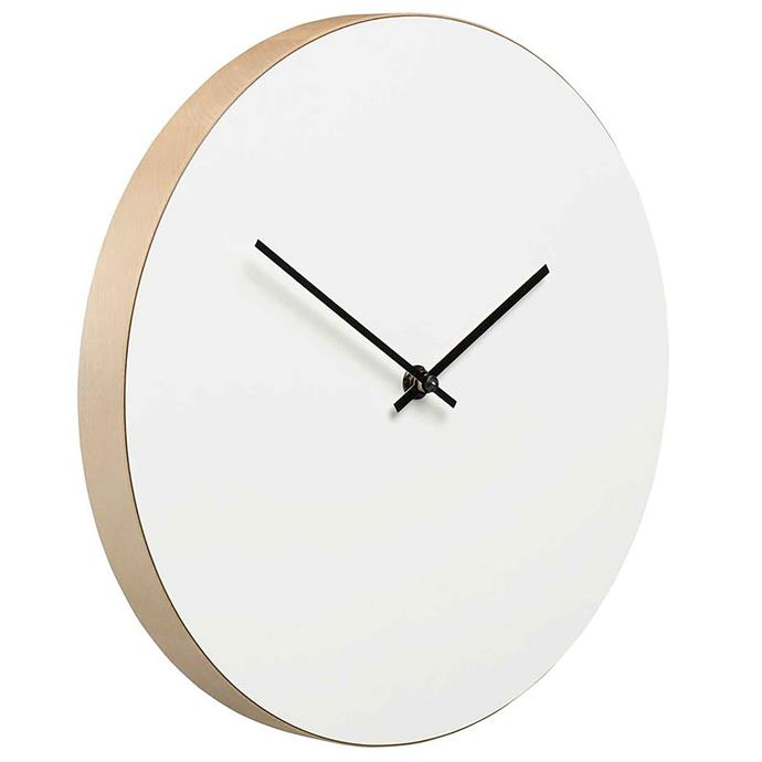 "<p>**MINIMALIST**<p> <P>'Kiekko' wall clock in white, $166, from [Finnish Design Shop](https://fave.co/2YPCjSt|target=""_blank""