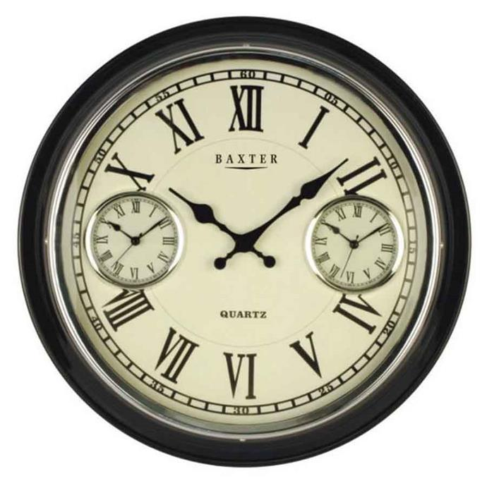 "<p>**COUNTRY**<p> <P>'Baxter Vintage' 3 time-zone wall clock in black, $99, from [Oh Clocks](https://www.ohclocks.com.au/collections/wall-clocks/products/baxter-vintage-3-time-zone-wall-clock-black-41cm|target=""_blank""