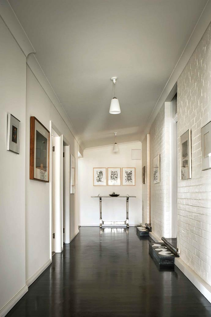 In the hallway, above an Argentinian table, hang three etchings by NSW artist Kylie Ramsay.