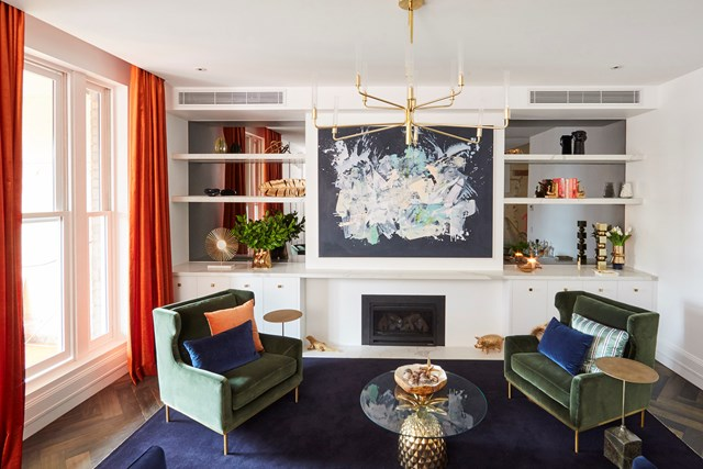 Mitch and Mark's eclectic, mid-century style living room...