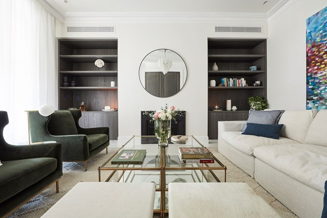 """Jesse and Mel's [formal living](https://www.homestolove.com.au/the-block-2019-formal-living-room-reveals-20570