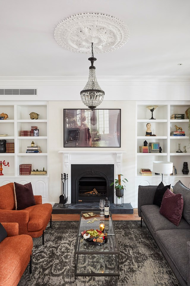 """Darren loved the colour palette in Matt and Elise's formal living room, describing it as """"subtle, layered and current, but respectful to the building."""""""