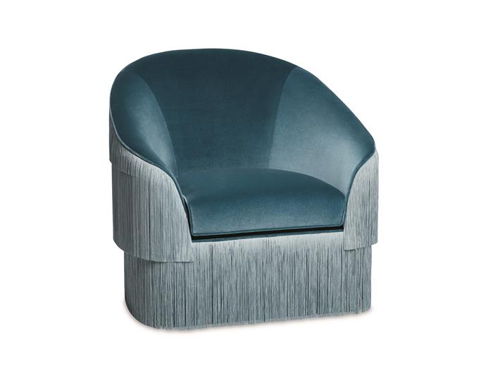 """Fringes Armchair with fringes in steel blue cotton velvet, $7550, at [James Said](https://www.jamessaid.com.au/seating/arm-chairs/fringes-armchair-customise.html