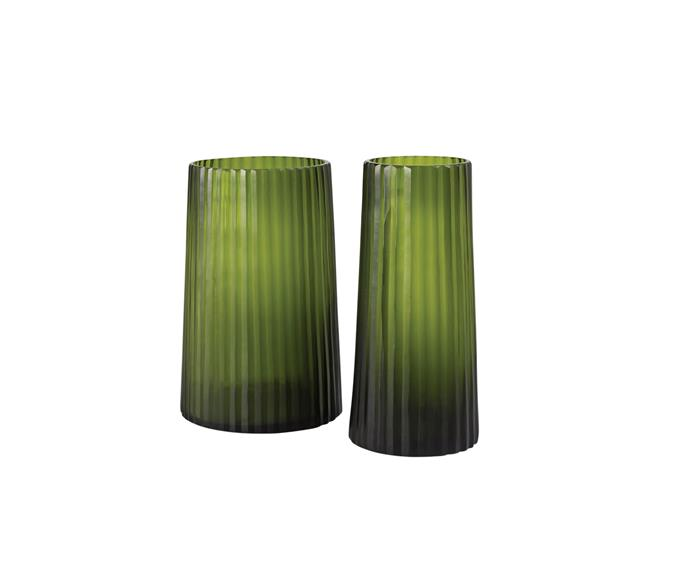 "Studio 'Saina' glass rib vases in Palm, $179.95 for 15cm x 32cm and $229.95 for 20cm x 30cm, [Sheridan](https://www.sheridan.com.au/homewares.html|target=""_blank""