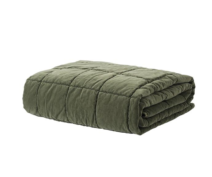 "Città washed velvet quilted throw in Kale, $179, [RJ Living](https://www.rjliving.com.au/buy-washed-velvet-square-stitch-quilted-throw-kale.html|target=""_blank""
