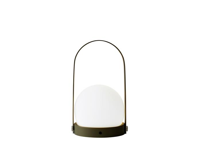 "Menu 'Carrie' LED lamp in Olive, $350, [Arrival Hall](https://arrivalhall.com.au/products/menu-carrie-led-lamp-olive?_pos=34&_sid=4338b5eb1&_ss=r|target=""_blank""