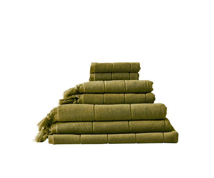 "Paros bath towels in Olive, $199 for 7-piece set, [Aura Home](https://www.aurahome.com.au/paros-bath-towel-olive|target=""_blank""|rel=""nofollow"")"