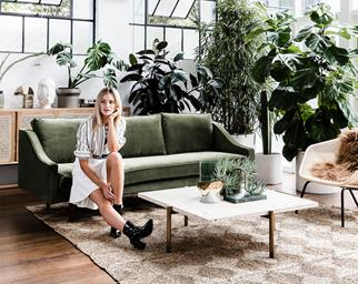 olive green sofa