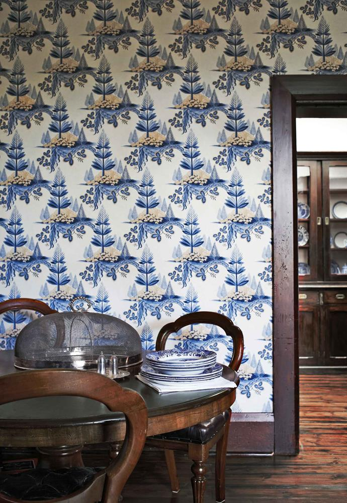 A glimpse through to the butler's pantry from the formal dining room which is wallpapered in Zoffany's 'Fir Trees'.