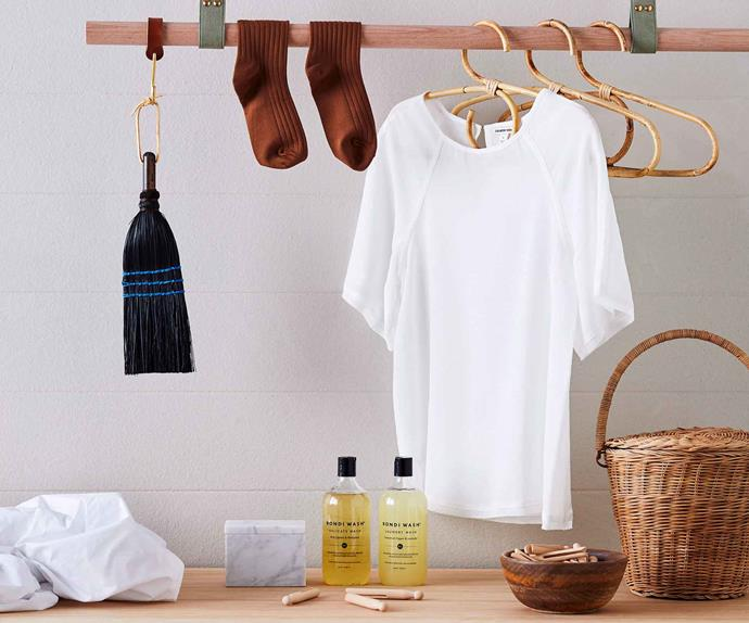 White shirt hanging up in laundry