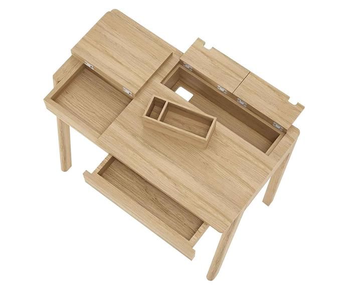 """**HIDDEN STORAGE**<p> <p>*'Circa' desk, $1099, in oak from [Life Interiors](https://www.lifeinteriors.com.au/styled-spaces/home-office-828/think-space/karpenter-circa-desk