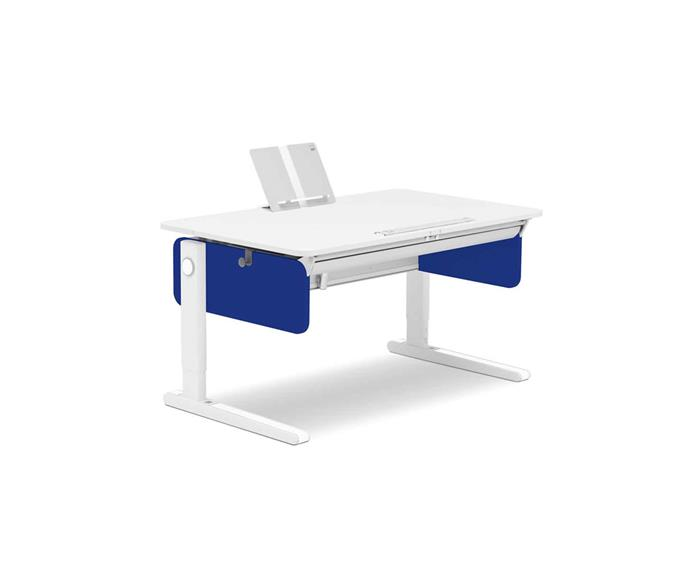 """**ERGONOMIC**<p>  <p>*'Champion' adjustable desk with coloured panels, starting at $1895, from [Moll Shop](https://www.moll-shop.com.au/product/moll-champion-front-up/