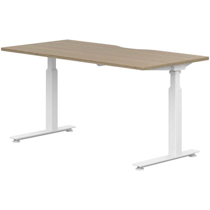 """**SIT AND STAND**<p> <p>*'Stilford' S2 Electric desk in walnut and white, $629, from [Officeworks](https://www.officeworks.com.au/shop/officeworks/p/stilford-s2-electric-desk-1800mm-walnut-white-s2ed18wnkt?scrollTop=false#features