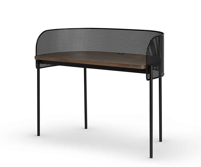 """**TO LIMIT DISTRACTION**<p> <p>*'Shelter' desk, $3337, from [RJ Living](https://www.rjliving.com.au/buy-shelter-desk.html