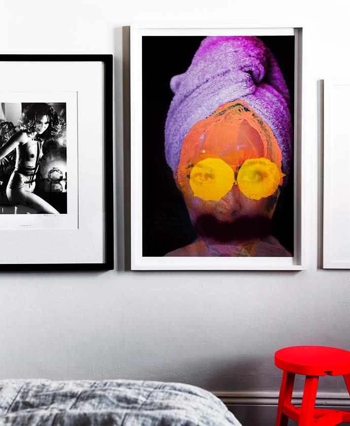 In the main bedroom is a Helmut Newton print (left) bought in California, and an artwork by Gemma Avery (right).