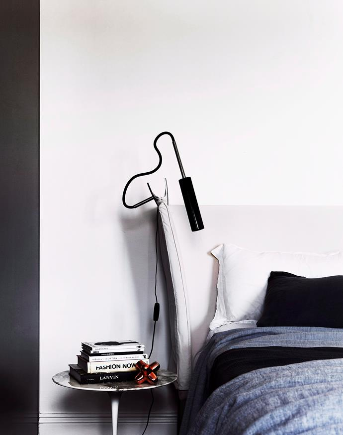Bedhead by Cassina. Catellani & Smith 'Lucenera 303' bedside light from Hub. Society bedlinen from Ondene.