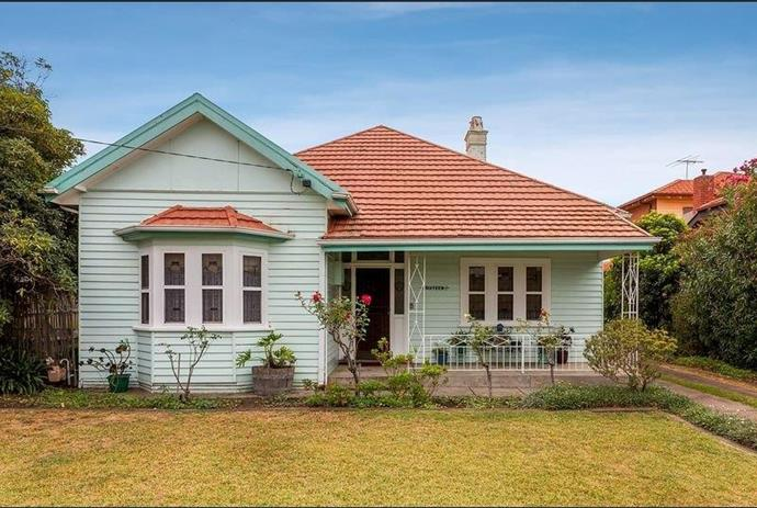 The exterior of 'The Cudmore', one of the five weatherboard houses that will be relocated to The Block 2020 site. The Cudmore is a 1920s-era Edwardian style home with original leadlight detailing.