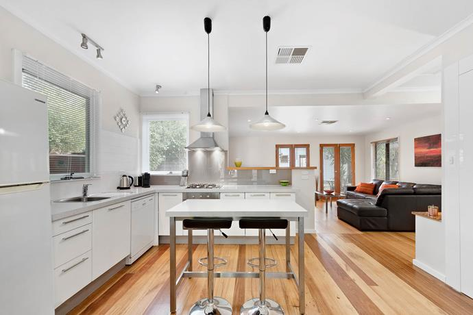 The Lyon's modern, open-plan kitchen and living room.