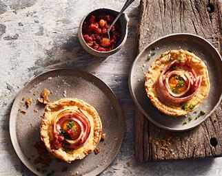 Bacon and egg pies with tomato chutney