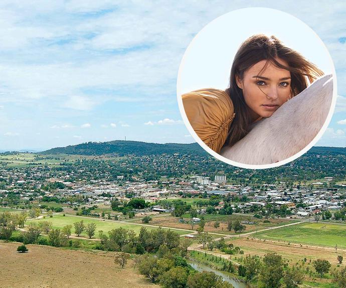 Township of Gunnedah with Miranda Kerr portrait inset
