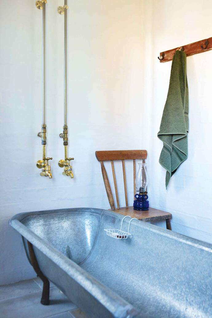 A tin bathtub was restored for one of the guest bathrooms.