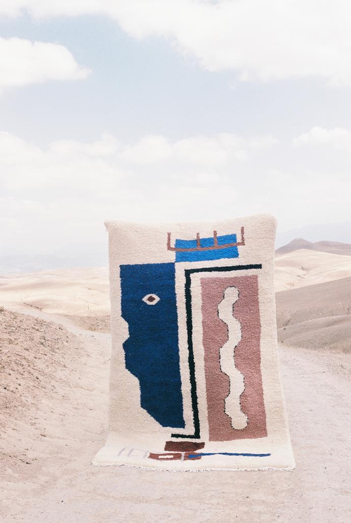 "Belgian designer Laurence Leenaert of LRNCE's handmade and hand-knotted 'Asma' sheep wool rug, POA, features colourful imagery reminiscent of experiences in Morocco.  'Asma' sheep wool rug, POA, [LRNCE](https://lrnce.com/shop/textiles/asma/|target=""_blank""