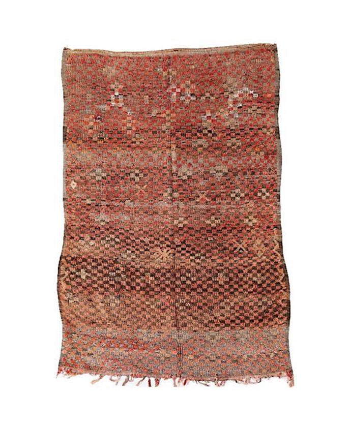 "Handwoven by women from the region of Al Haouz, this vintage Boujad runner features traditional Berber motifs that tell a story.  Vintage Boujad runner, $1700, [Kulchi](http://www.kulchi.com/boujad.htmlkulchi.com|target=""_blank""