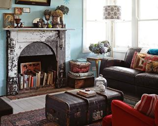 Living room with fireplace and maximalist decor