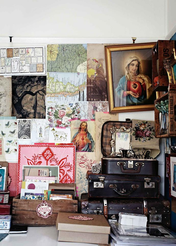 """Their home reflects the """"global influence"""" of their lives across three continents. Nostalgic imagery has strong appeal, as do the numerous Madonnas that Paula cherishes. Then there's the African textiles and artworks, and the beloved pink [Laminex dining setting](https://www.homestolove.com.au/popular-bench-tops-and-why-to-choose-them-16377 target=""""_blank"""") bought at a Johannesburg auction."""
