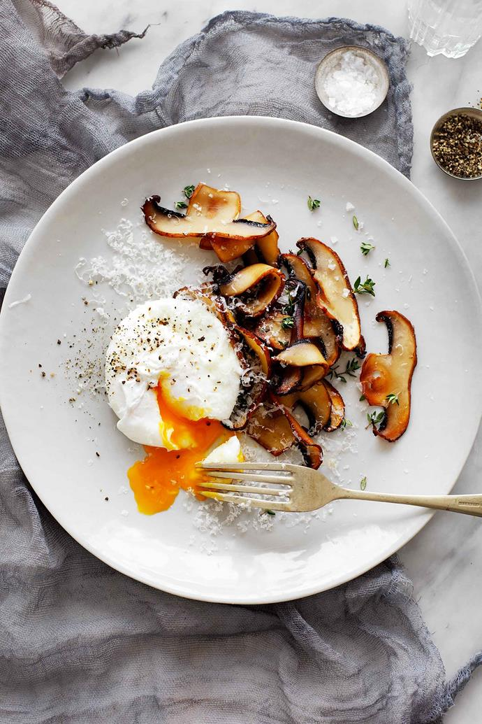 Serve poached eggs with toast, sourdough bread, turkish toast or brioche. For a lighter option, serve with a side of pan-fried mushrooms.