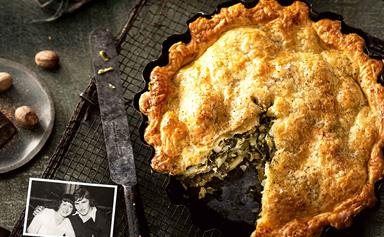 A family-sized cheese and spinach pie recipe