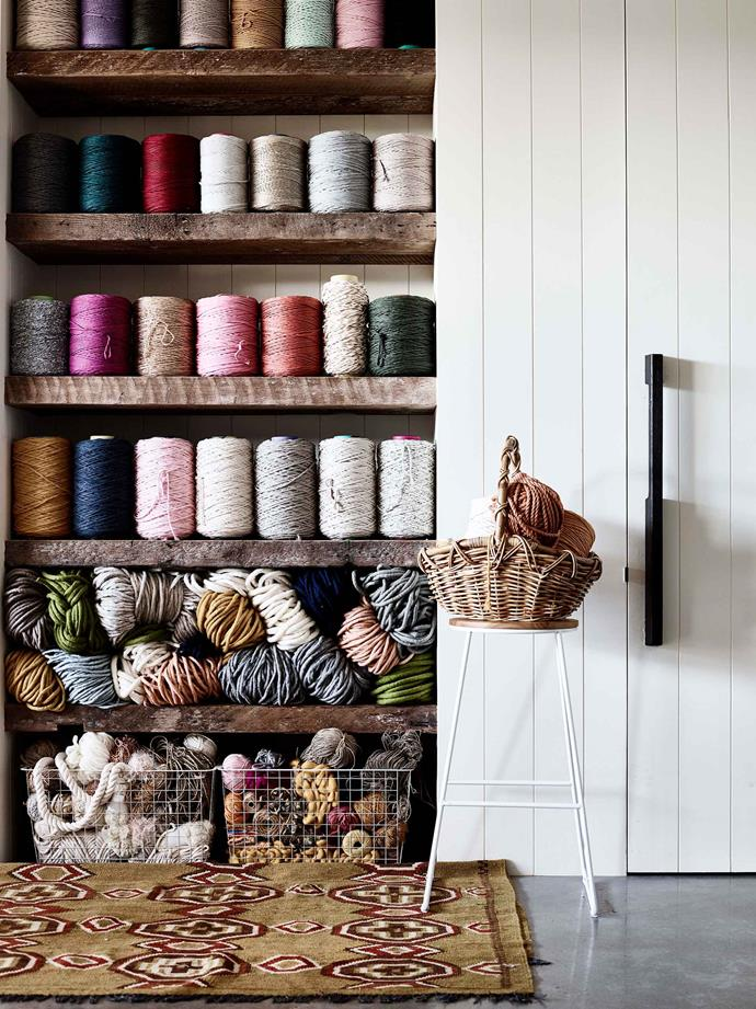 A collection of string and yarn in Brydie's studio.