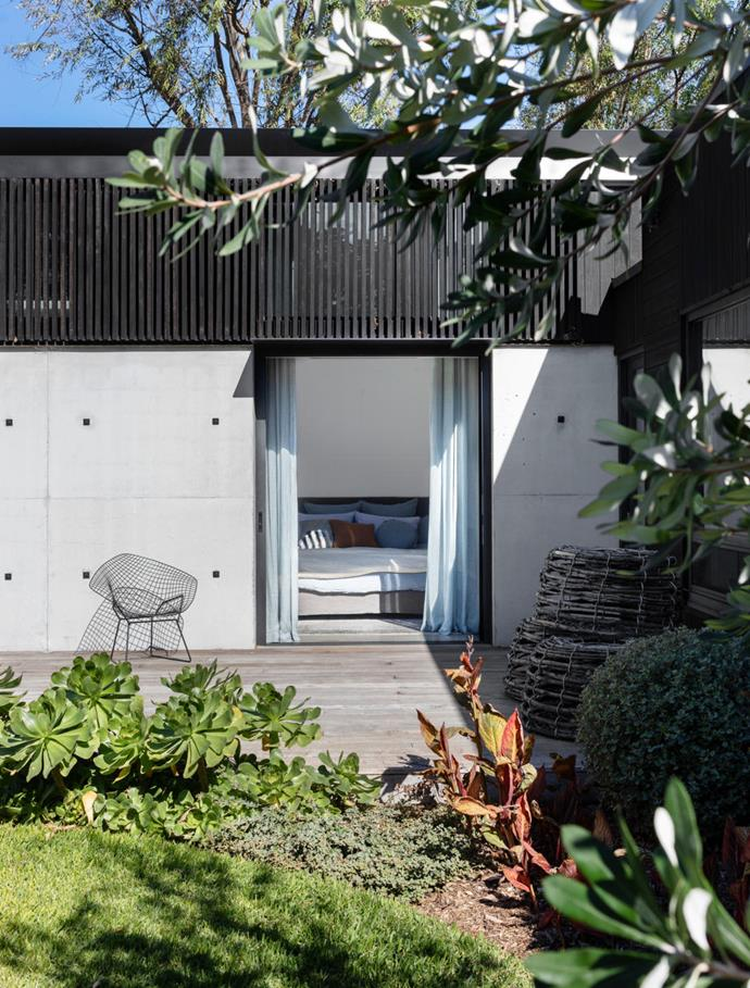 Charred timber battens from Eco Timber clad the exterior. Landscape designer Fiona Brockhoff has achieved a beautiful mix of succulents, hardy shrubs and natives. Crayfish pots from Tasmania.