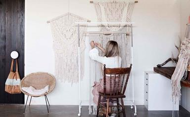 In the studio with a macrame wall hanging artist