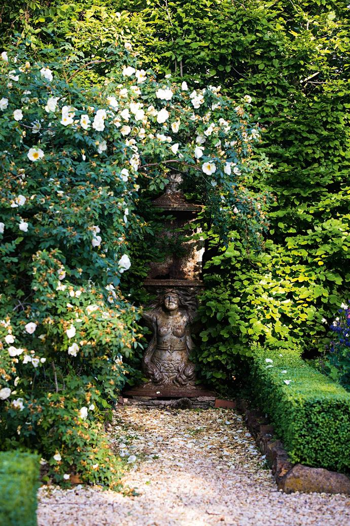 In a corner, a magnificent pale yellow 'Frühlingsgold' rose arches over an unusual statue, which they found in an antique shop, and a tall deciduous hedge of hornbeam (Carpinus betulus) makes a dense wall enclosing the space.