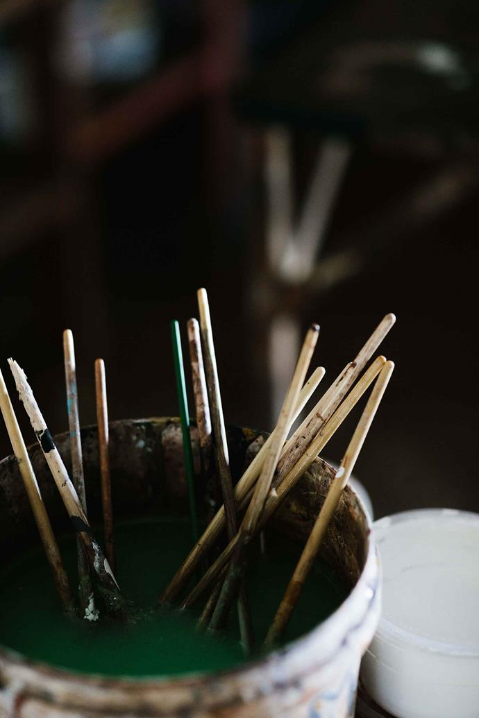 Well-used paintbrushes. The art centre's studios are well-resourced with supplies and materials.