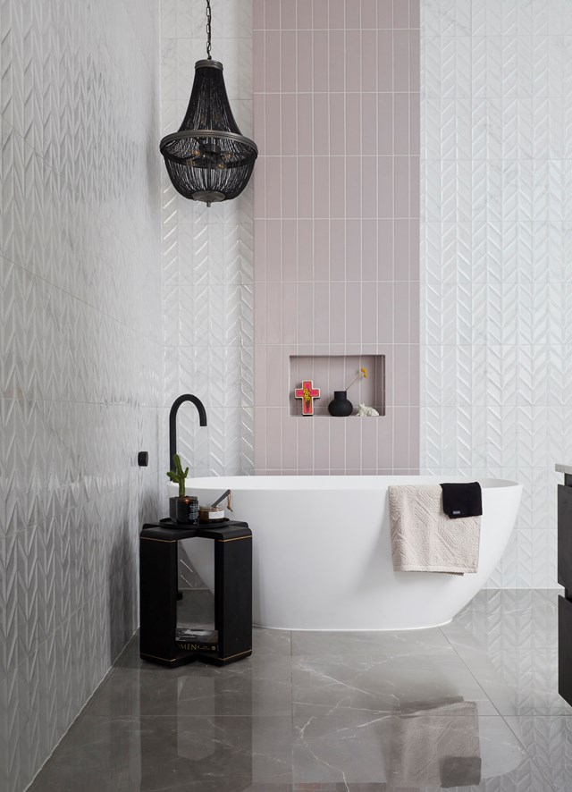 """**The Block 2019: El'ise and Matt** [The Block 2019 main bathroom week](https://www.homestolove.com.au/the-block-2019-main-bathroom-reveals-20604