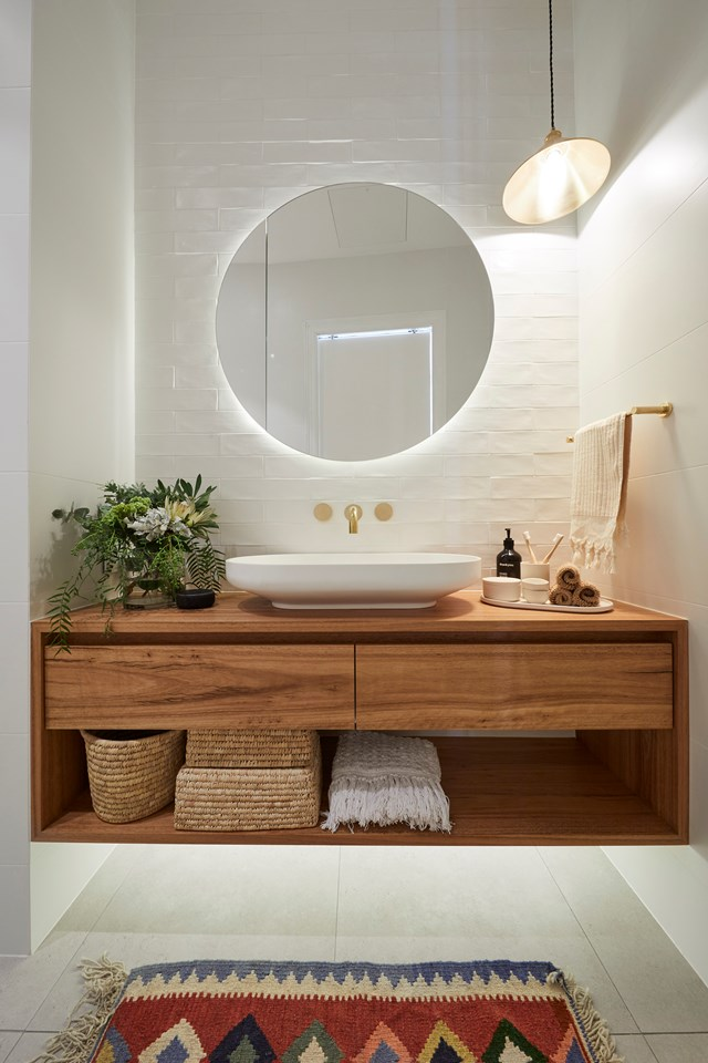 """**The Block 2019: Andy and Deb**  While the layout and inclusion of a nib wall made the main bathroom in [Andy and Deb's home](https://www.homestolove.com.au/the-block-2019-andy-deb-house-20743