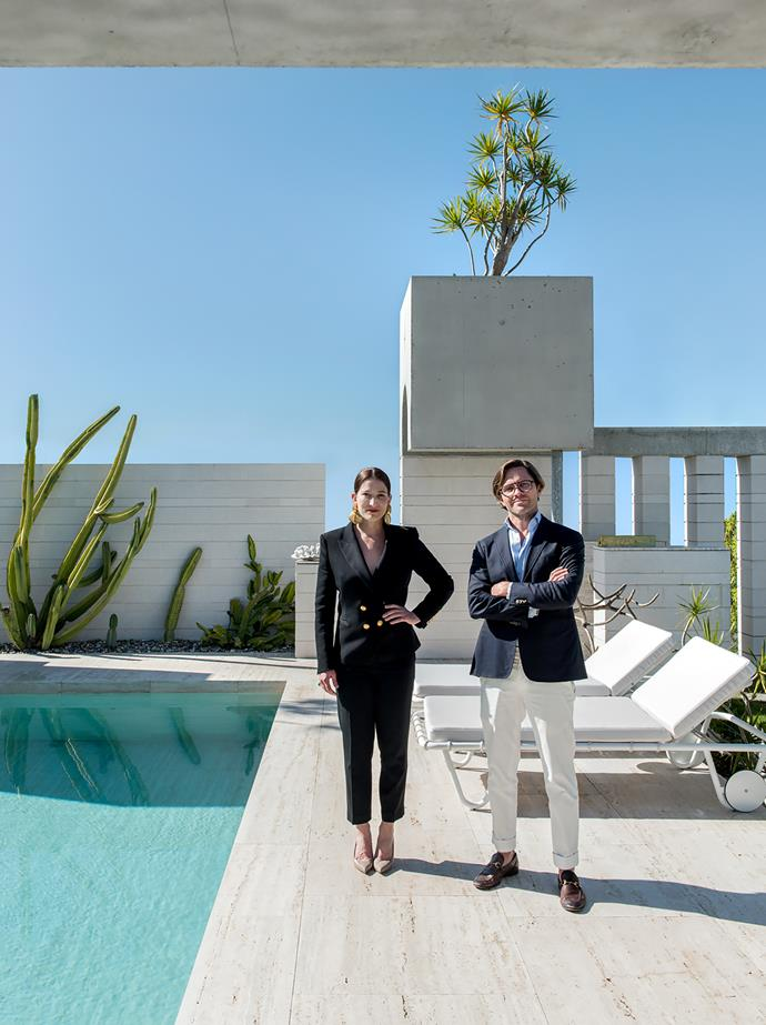 Architects Ingrid Richards and Adrian Spence, partners in Richards & Spence, photographed in the pool area of their new Brisbane home.