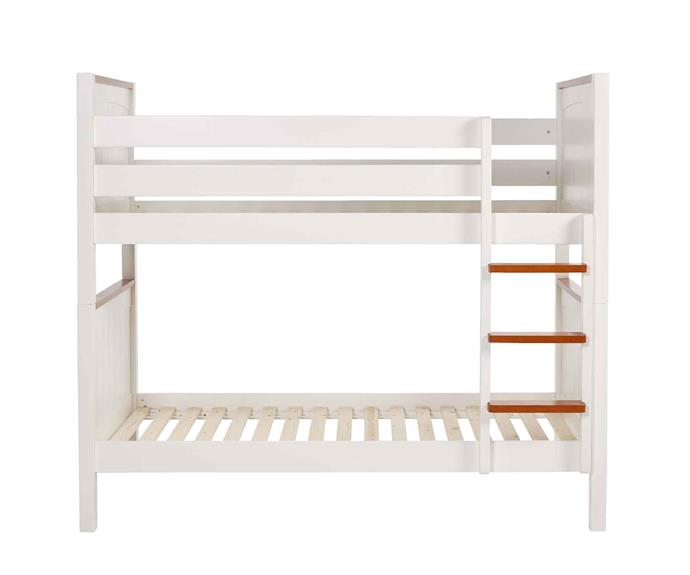 "'Bondi' bunk **bed frame**, $999, for single, from [Snooze](https://www.snooze.com.au/products/bondi-bunk-bed-frame|target=""_blank""