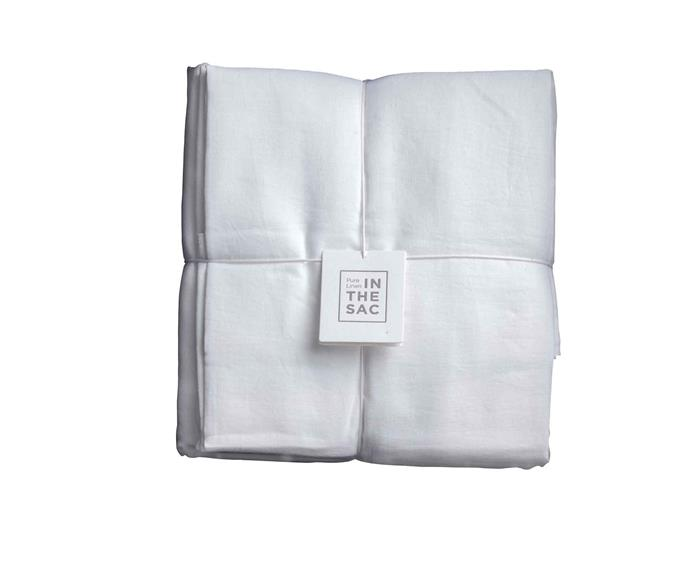 "Linen **sheet set** in white, $495 (for double), from [In The Sac](https://inthesac.com.au/shop/bed/sheet-sets/|target=""_blank""