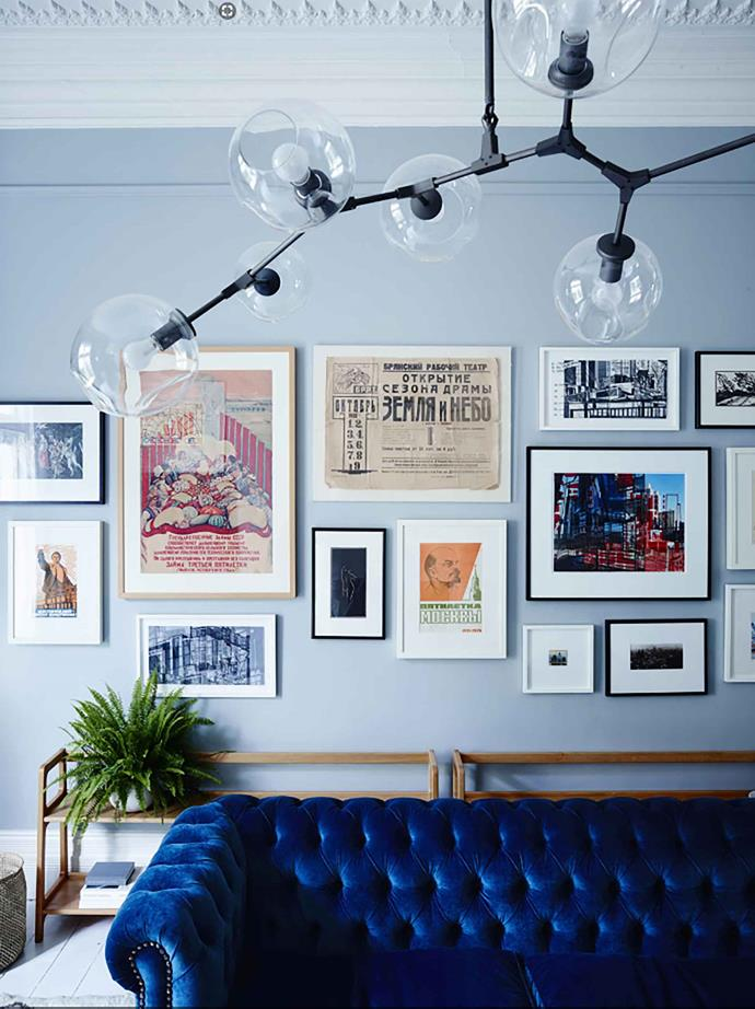 "Designed by Simone Haag, this living room in a [Melbourne home](https://www.homestolove.com.au/home-refreshed-with-feminine-aesthetic-melbourne-19240|target=""_blank"") features a heady mix of classic and modern pieces. A velvet blue chesterfield lounge is at the centre of it all."