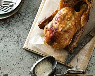 Roast duck with bread sauce