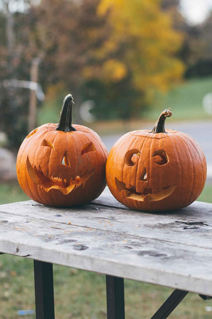 To prevent the jack-o'-lanterns from drying out and rotting, spray the interior and cut surfaces with vegetable oil.