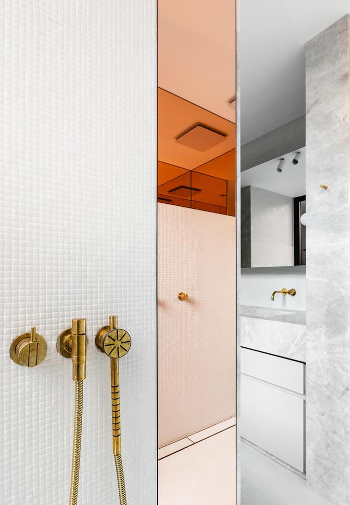 Showerhead/tapware Vola '050A' ceiling-mounted shower and '171S' hand shower with '2201' one-handle build in mixer, all in Natural Brass from Mary Noall.