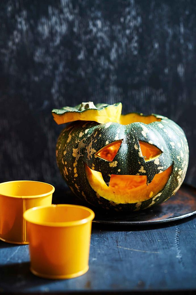 "A Jap pumpkin has been transformed into a Halloween table centrepiece. Learn how to make the [Halloween pumpkin monster here](https://www.womensweeklyfood.com.au/recipes/halloween-pumpkin-monster-with-guacamole-2629|target=""_blank"")."