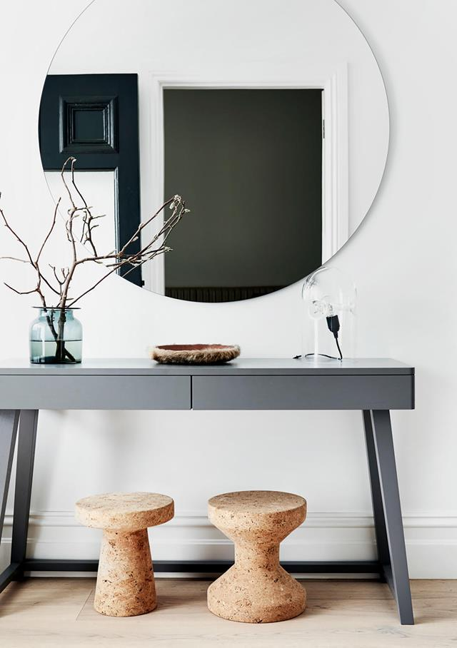 "Clean, uncluttered and timeless spaces with honest materials was the brief given to designer Carole Whiting for this [Melbourne home](https://www.homestolove.com.au/minimalist-melbourne-home-with-natural-palette-19937|target=""_blank""). A calm and minimal aesthetic is present from the entryway which features a Gervasoni console from Anibou."
