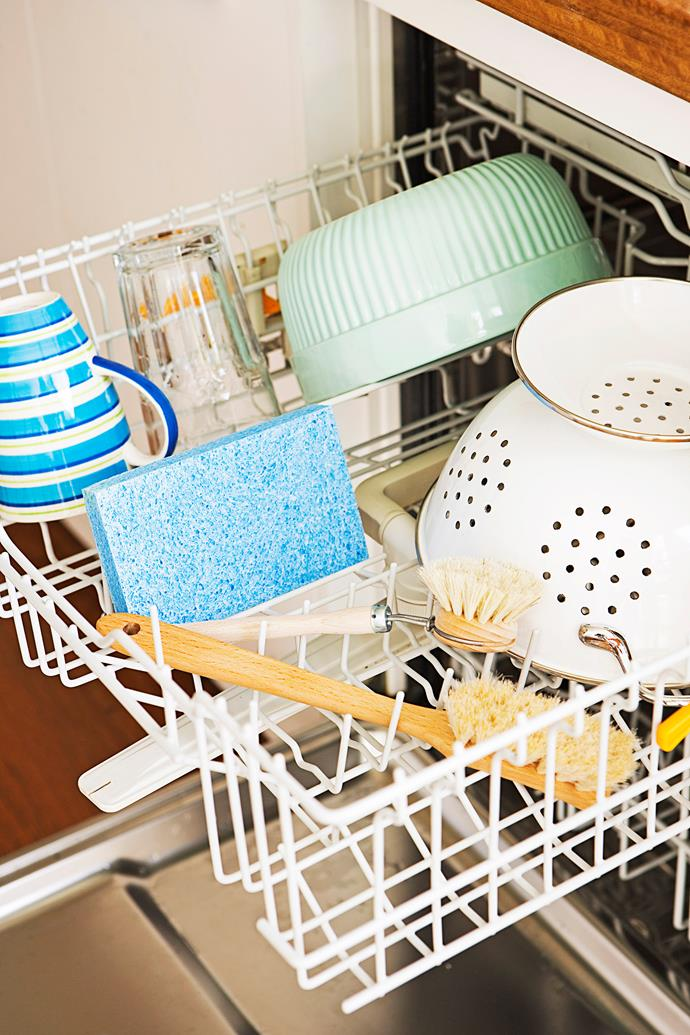 You can also run scrubbing brushes and cloths through the dishwasher for a quick clean.
